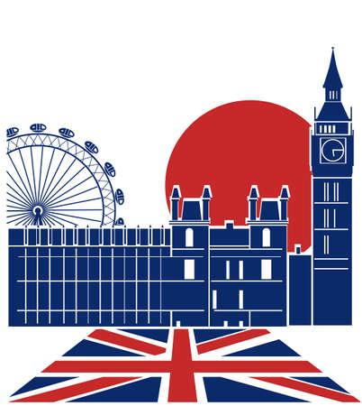 London landmark color background with England flag