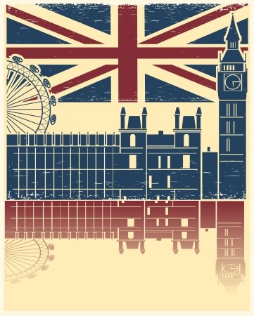 Vector vintage London poster on old background texture with England flag Vector