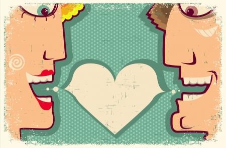enamorados caricatura: Lovers Speaking y de la burbuja para el texto Vector Dibujos animados mujer y hombre en viejo cartel para el dise�o