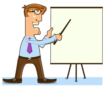 man presenting: office man and pointer ner presentation board.Vector worker isolated on white Illustration