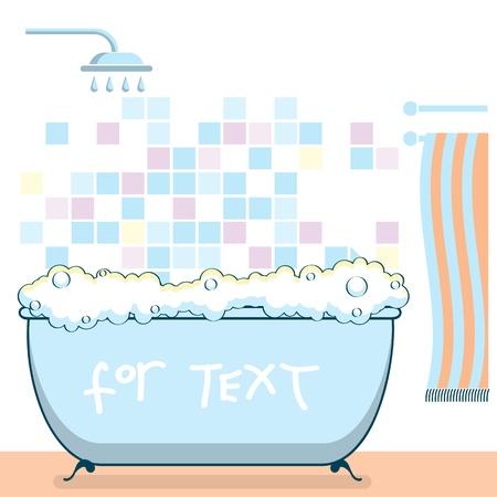 bath tub: Vector color illustration of bathroom interior