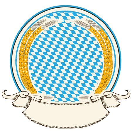 oktoberfest: oktoberfest label   Bavaria flag background with scroll for text   isolated on white