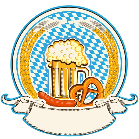 beer festival: oktoberfest label with beer and food  Bavaria flag background with scroll