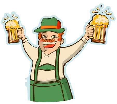 oktoberfest man with glasses of beer Vector illustration isolated on white Vector