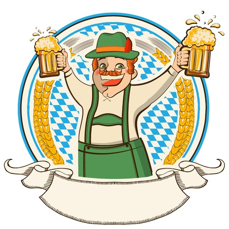 oktoberfest  Vector label with man and glasses of beer isolated on white Vector