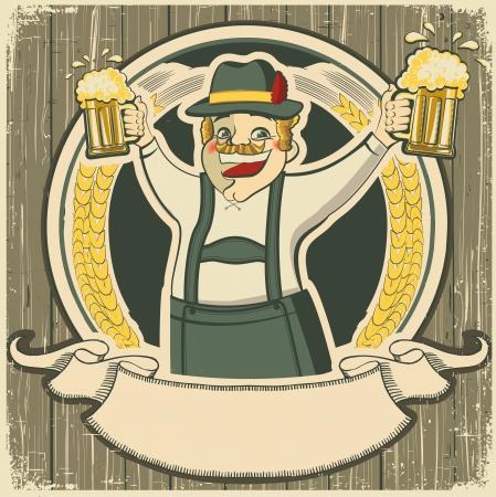 octoberfest: oktoberfest. etiqueta de la vendimia con el hombre y vasos de cerveza en vieja textura de fondo