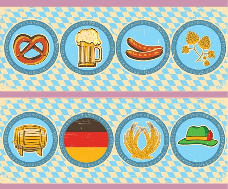 german beer: vintage beer elements with oktoberfest symbol on old paper