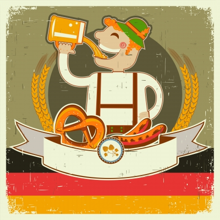 vintage oktoberfest posterl with German man and beer. illustration on old paper for text Vector