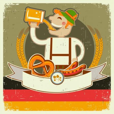 german beer: vintage oktoberfest posterl with German man and beer. illustration on old paper for text Illustration