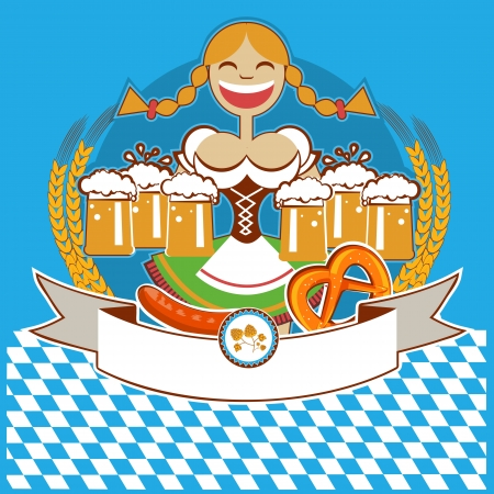 oktoberfest symbol label with woman and beer. color illustration for text