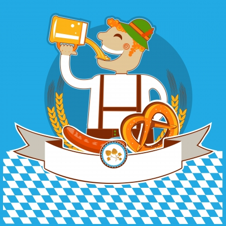 oktoberfest symbol kabel with man and beer. color illustration for text Vector