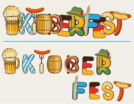 bavarian: beer oktoberfest lettersl. text illustration isolated on white for design