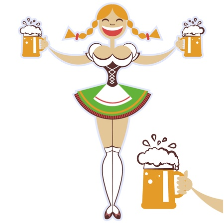 bavarian girl: oktoberfest girl with glasses of beer symbol illustration isolated on white Illustration