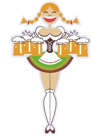 german beer: oktoberfest waitress with glasses of beer illustration isolated