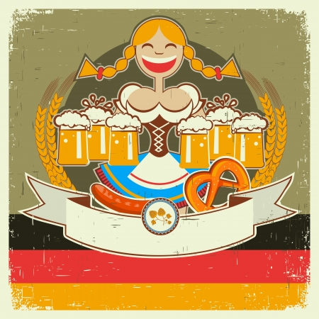 Vintage oktoberfest poster label with girl and beer on old paper texture for text Vector