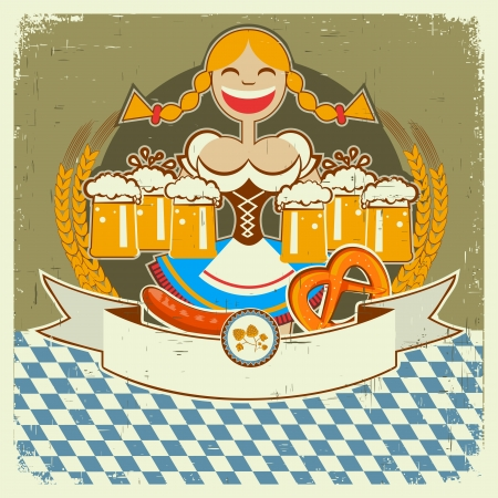 Vintage oktoberfest symbol label with girl and beer on old paper texture for text Vector