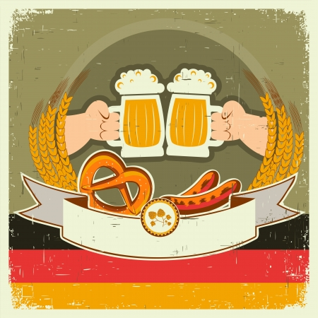vintage oktoberfest background with hands and beers illustration on old paper for text Vector