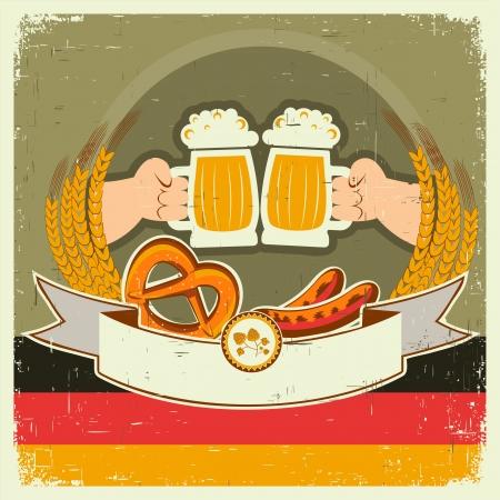 german beer: vintage oktoberfest background with hands and beers illustration on old paper for text Illustration