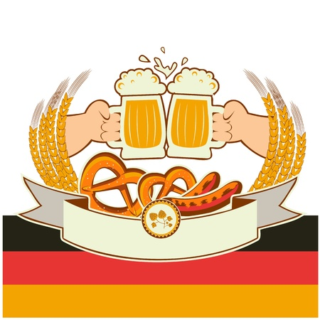german alcohol: oktoberfest background with hands and beers illustration isolated  Illustration