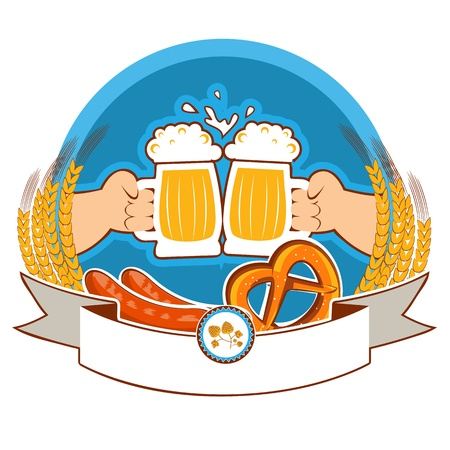 oktoberfest  label with hands of and beer color illustration isolated on white for text Vector