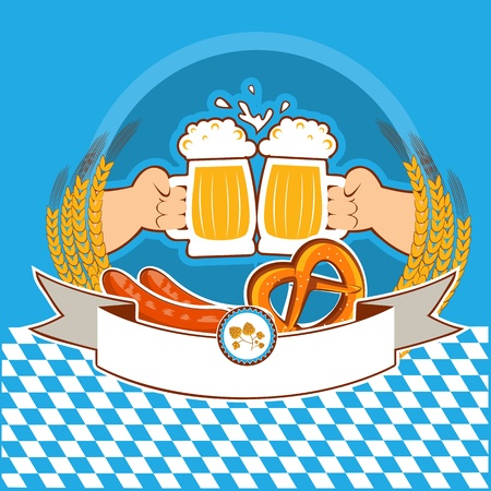 baner: oktoberfest  label with hands of and beer color illustration  for text