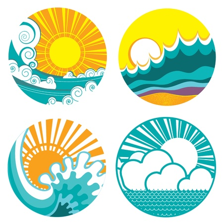 sun set: sun and sea waves. icons of  illustration of seascape Illustration