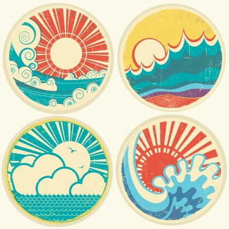 빈티지 태양과 바다 파도. 바다의 그림의 아이콘 일러스트