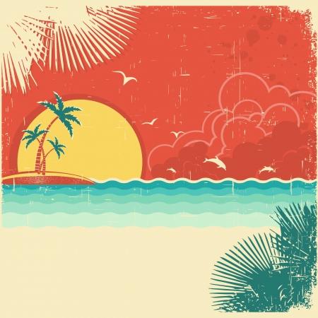 Vintage natuur tropische zeegezichtachtergrond met eiland en palmen decoratie op oud papier poster textuur
