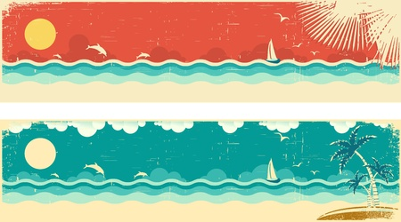Vintage nature seascape banners with sea and palms on island.Vector illustration on old paper texture Vector