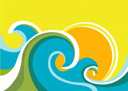 breeze: Nature seascape poster with sea waves and sun.Vector color background Illustration
