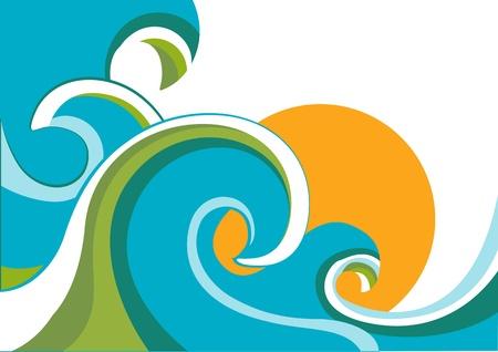 自然波と太陽と海の背景。白で隔離されるベクトル イラスト  イラスト・ベクター素材