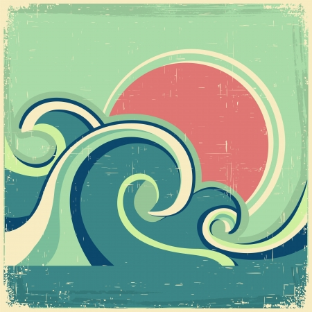 Vintage poster.Vector abstract seascape poster with sea waves and sun on old poster