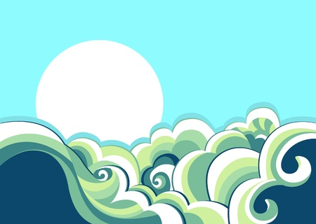 tides: Sea waves background. Vintage illustration of sea landscape Illustration