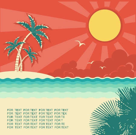 Retro nature tropical seascape background with island and palms for design Illustration