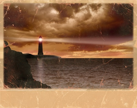 Vintage card of  lighthouse and seascape and dark clouds on old paper texture background Stock Photo - 21750915