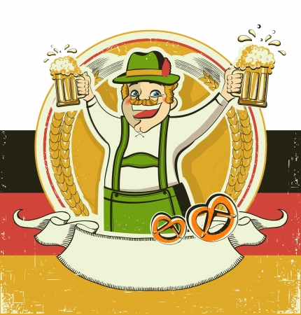German man and beers.Vintage oktoberfest  symbol on old paper background Vector