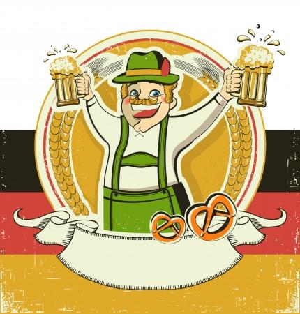 german alcohol: German man and beers.Vintage oktoberfest  symbol on old paper background