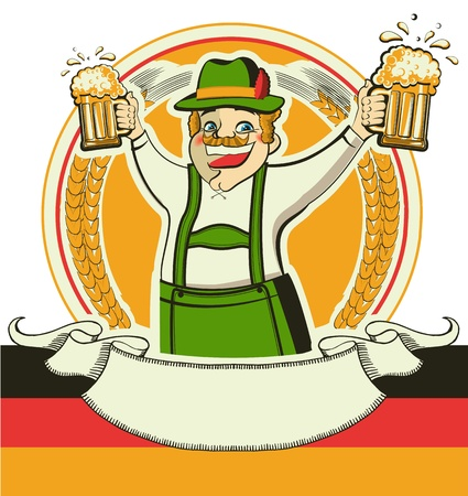 estival: German man and glasses of beer.Vector oktoberfest estival symbol isolated on white for design Illustration