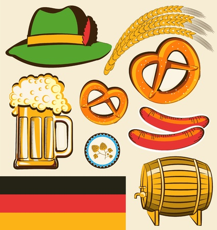 german food: oktoberfest festival symbol objects for design isolated for design