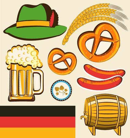 comida alemana: símbolo del festival Oktoberfest objetos para el diseño aislado para el diseño Vectores