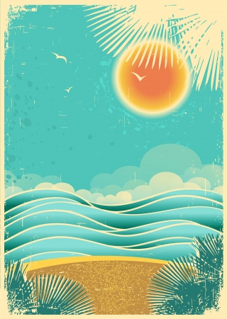 Vintage nature tropical seascape background with sunlight and palms  on old paper texture..Vector color illustration