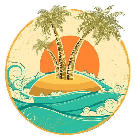 VIntage tropical island.Vector symbol seascape with sun on old paper texture