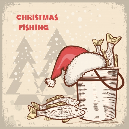 fish on hook: Christmas card.Drawing image of successful fishing on old background for text Illustration