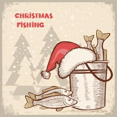 carp fishing: Immagine di pesca di successo di Natale card.Drawing sul vecchio sfondo per il testo