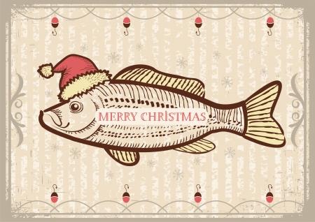 クリスマス サンタ クロースの赤い帽子で魚。新しい年の古いテクスチャ ヴィンテージの図面カード