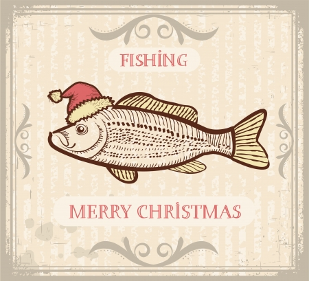 carp fishing: Vintage Christmas image of Fishing with fish in Santa hat .Vector drawing card for text
