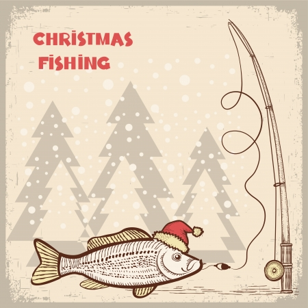 angler: Christmas fishing card with fish in red Santa hat.Vector drawing illustration for text