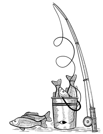 anglers: Fishing rod and fishes.Vector black drawing illustration on white Illustration