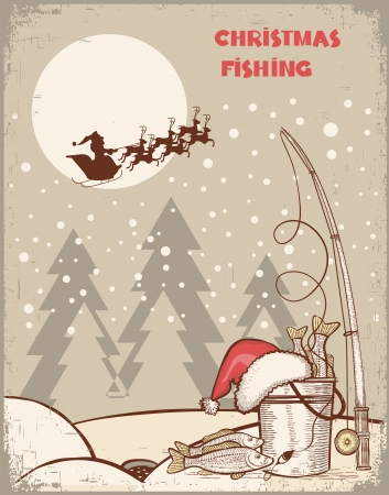Fishing in Christmas night.Vintage winter image with Santa for text Ilustração