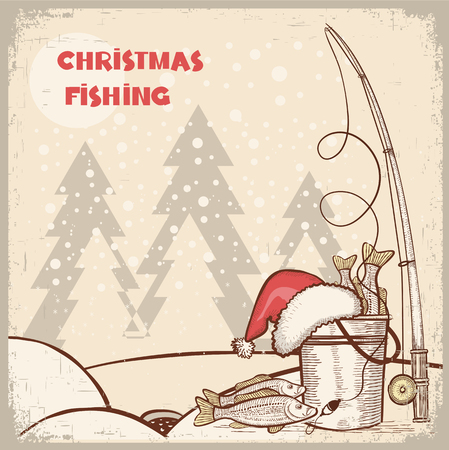 carp fishing: successful fishing in Christmas holiday.Vector winter card background for text
